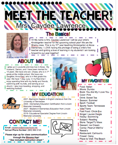 Classroom Welcome Page