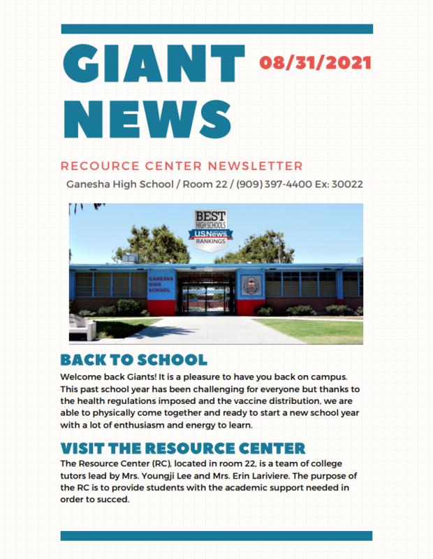 Ganesha Resource Center Newsletter