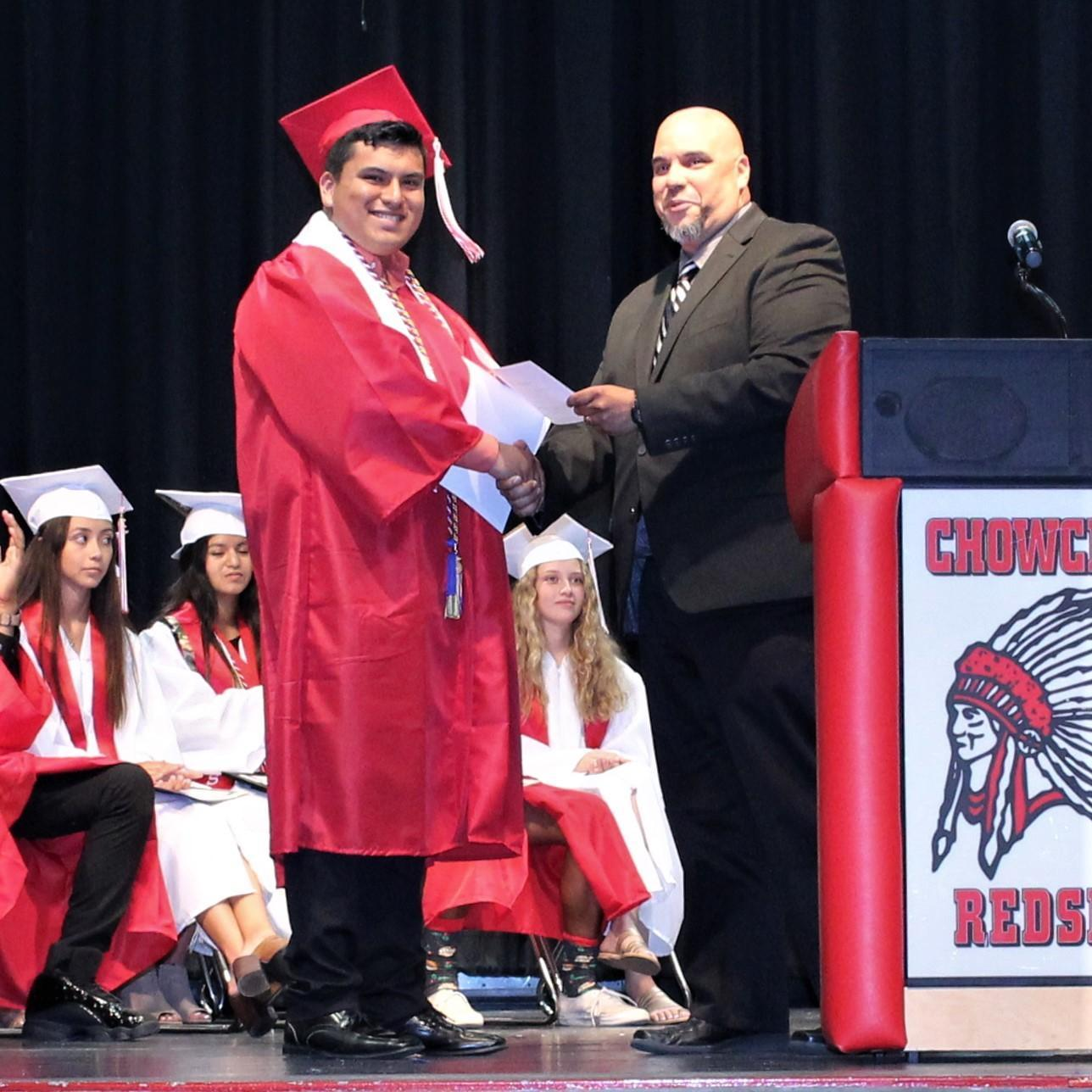 Alan Martinez, CUHS Assistant Principal Chris Rodriguez