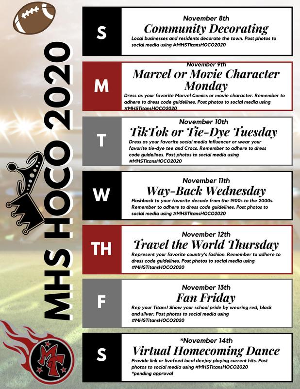 2020 MHS HOMECOMING WEEK ACTIVITIES Featured Photo