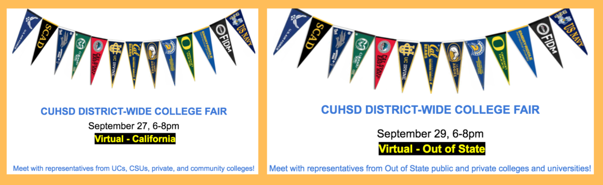 cuhsd district wide college fairs on september 27 and 29