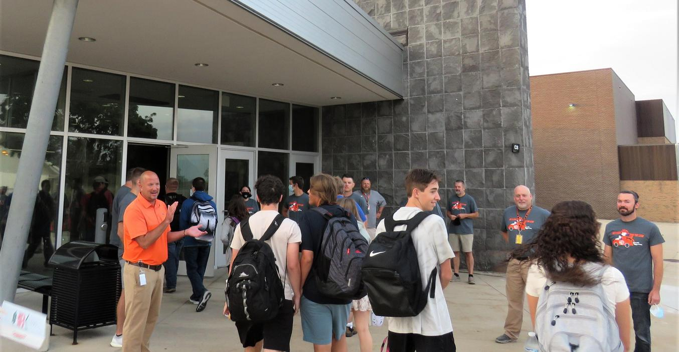 High School students are welcomed to the first day of school by TK Superintendent Dan Remenap and high school teachers.
