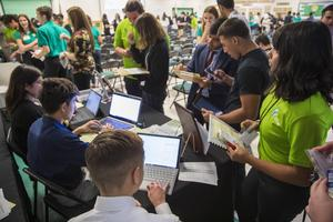 Virtual Enterprise students attend mini trade show at the Ag Pavilion.