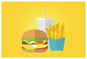 Image of Burger, fries, and a drink
