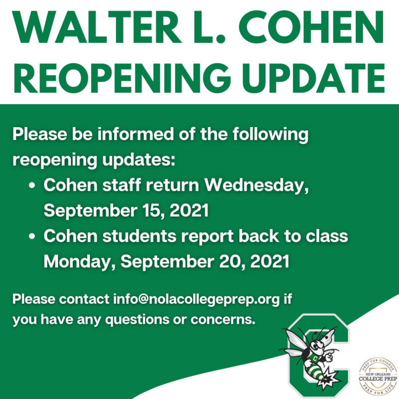 Walter L. Cohen High School Reopening Update Featured Photo