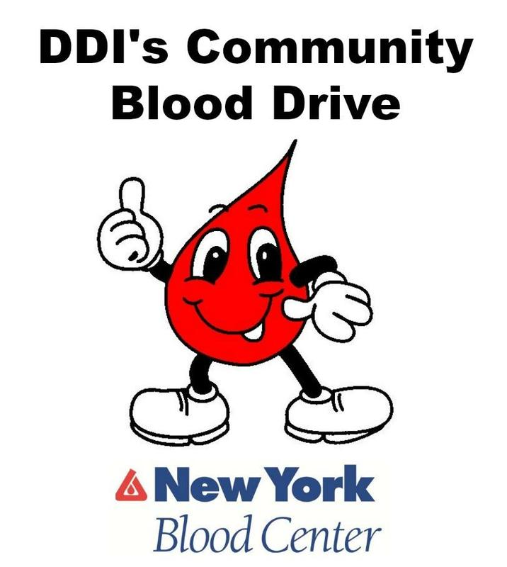 Blood droplet character-Blood Drive announcement/NY Blood Center