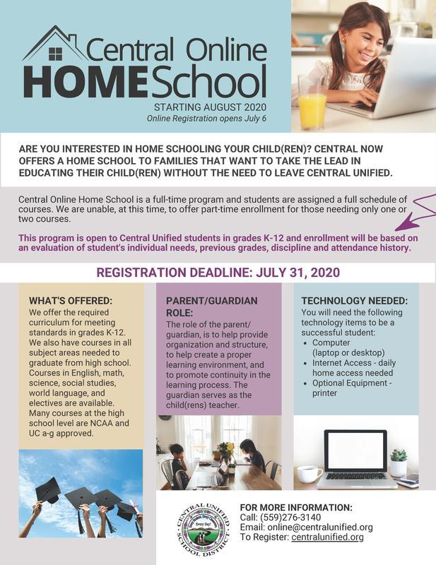 Central Online Home School Flyer