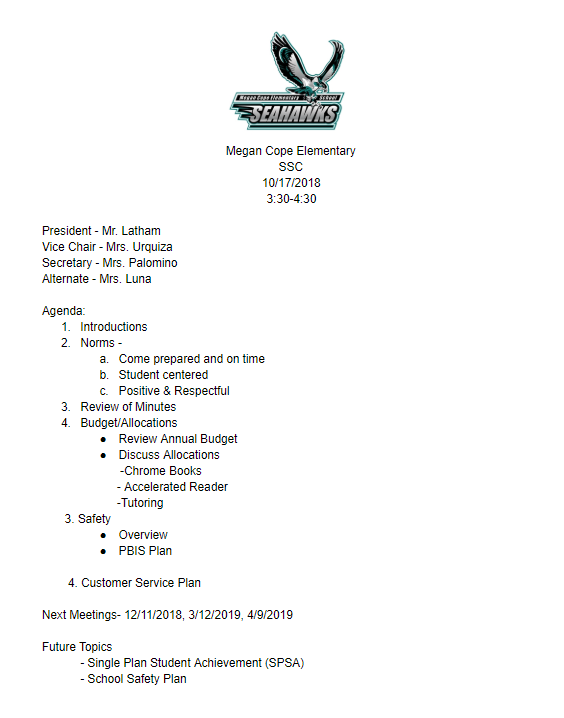 10/17 SSC Meeting Agenda
