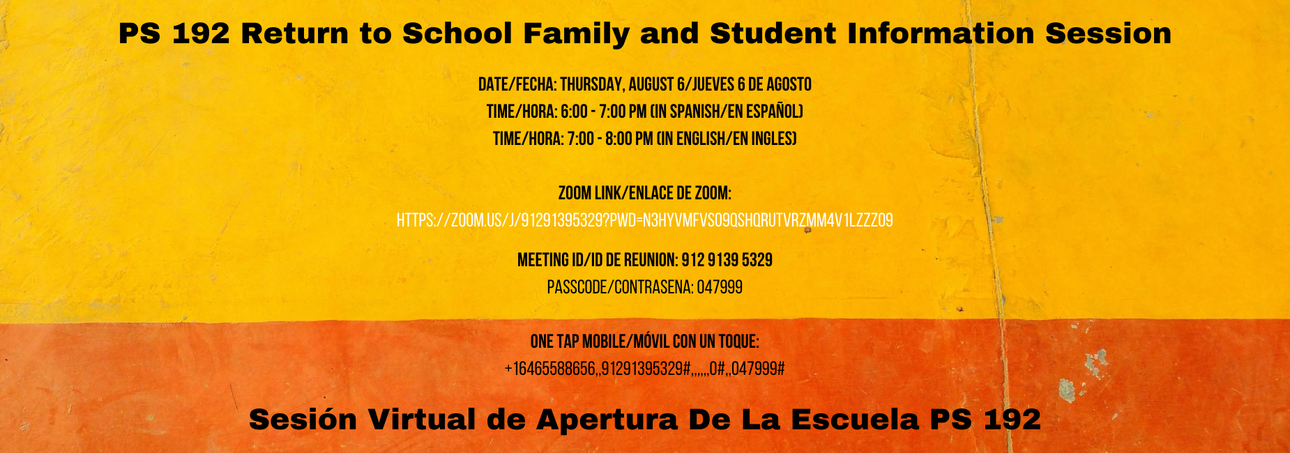 EVENT FLYER BILINGUAL IN YELLOW AND ORANGE