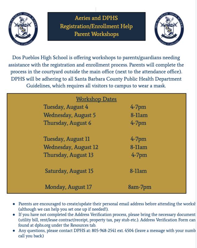 Aeries Registration Help Workshops / Aeries y DPHS Apoyo para registro e inscripción Talleres para padres Featured Photo