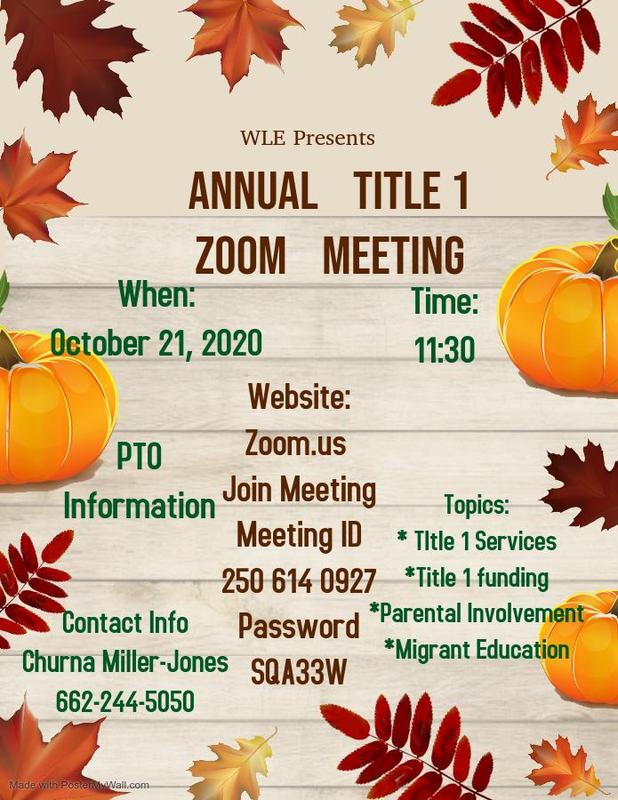 Annual Title 1 Zoom Meeting