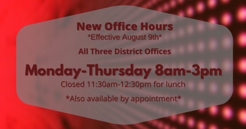 Office Hours Effective 8/9/21