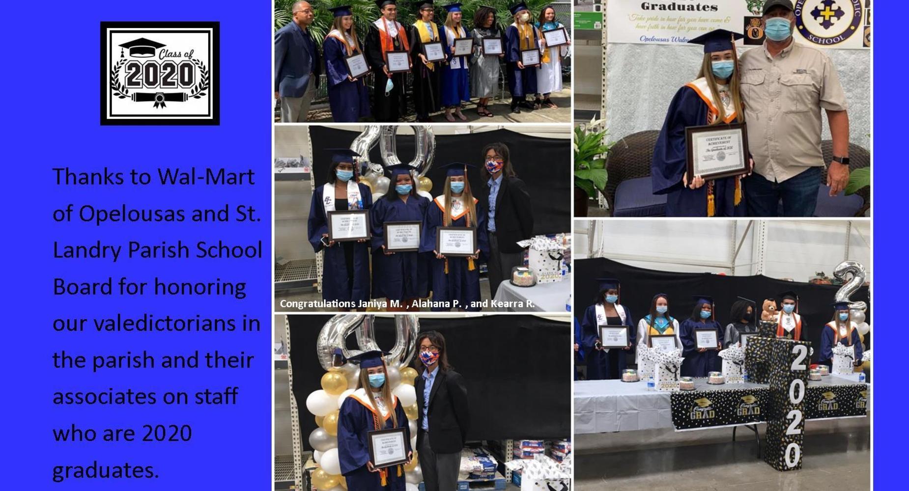 Wal-Mart-Appreciative Day-Valedictorians of the Parish and Staff Associates - 2020