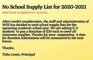 no school supplies