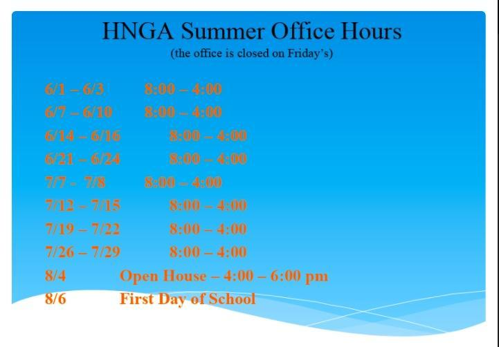 HNGA Summer Office Hours