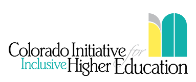 IN! Logo with the words colorado initiative for inclusive higher education and yellow and blue curved shapes that resemble the word in