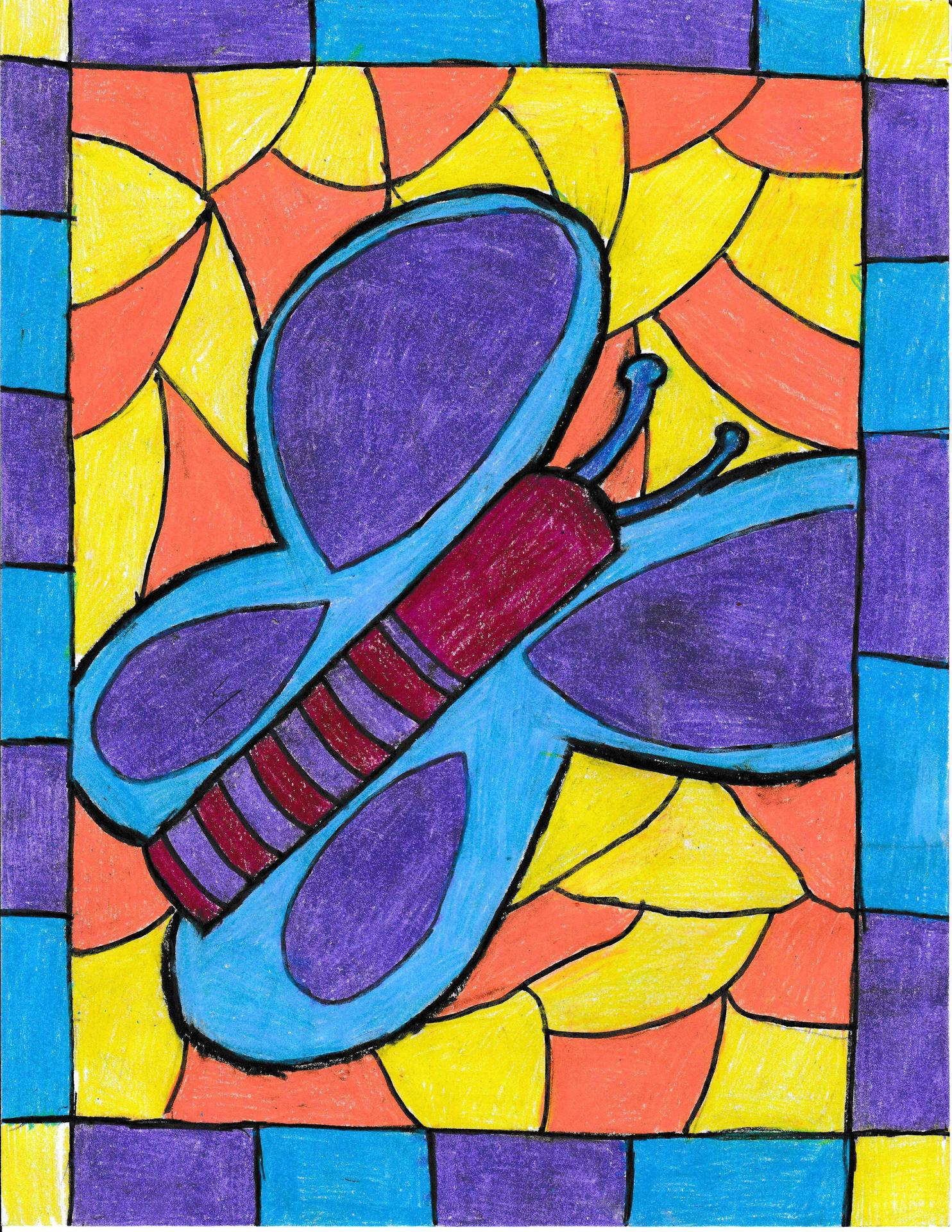 An elementary school student's brightly colorful drawing of a butterfly in stained glass art style