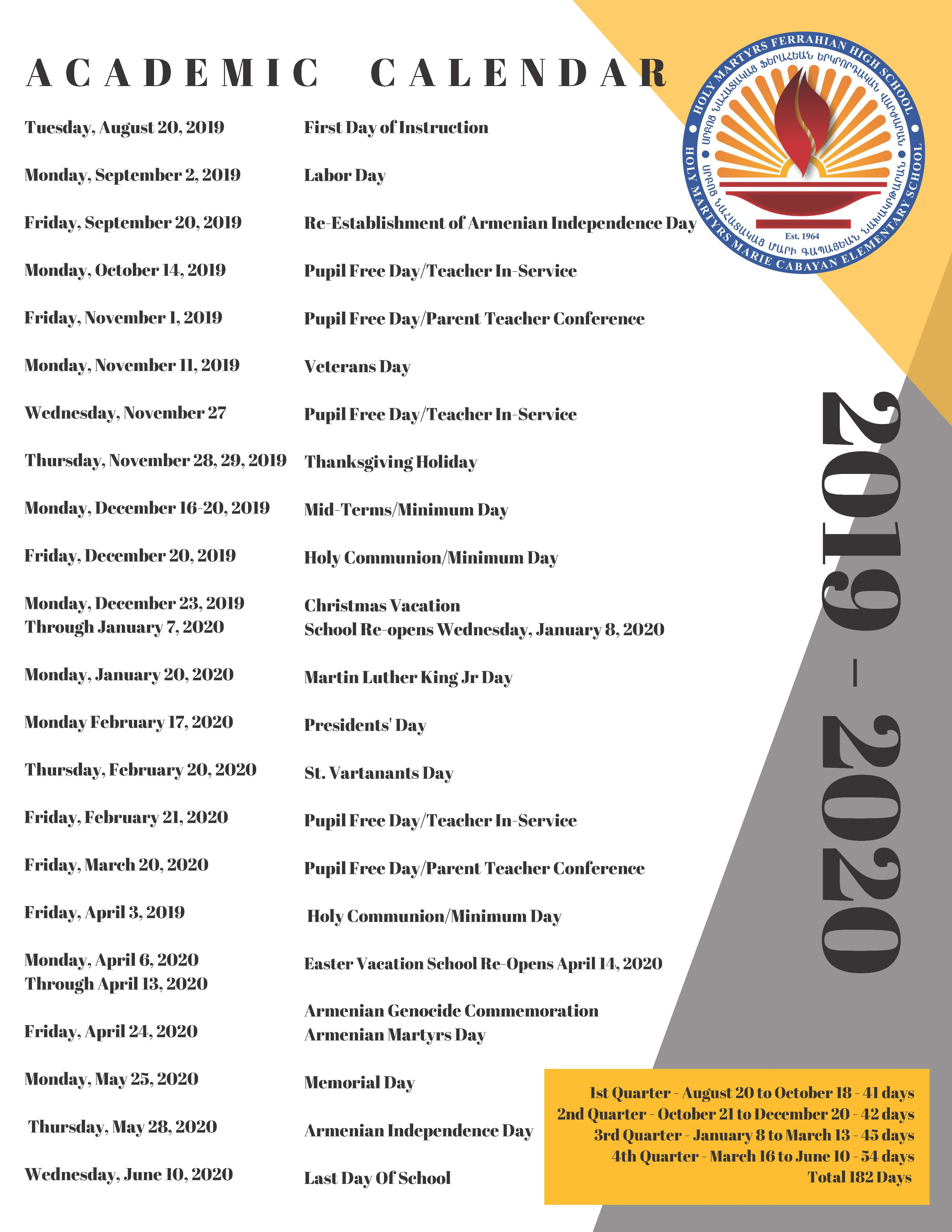 csun academic calendar 2020
