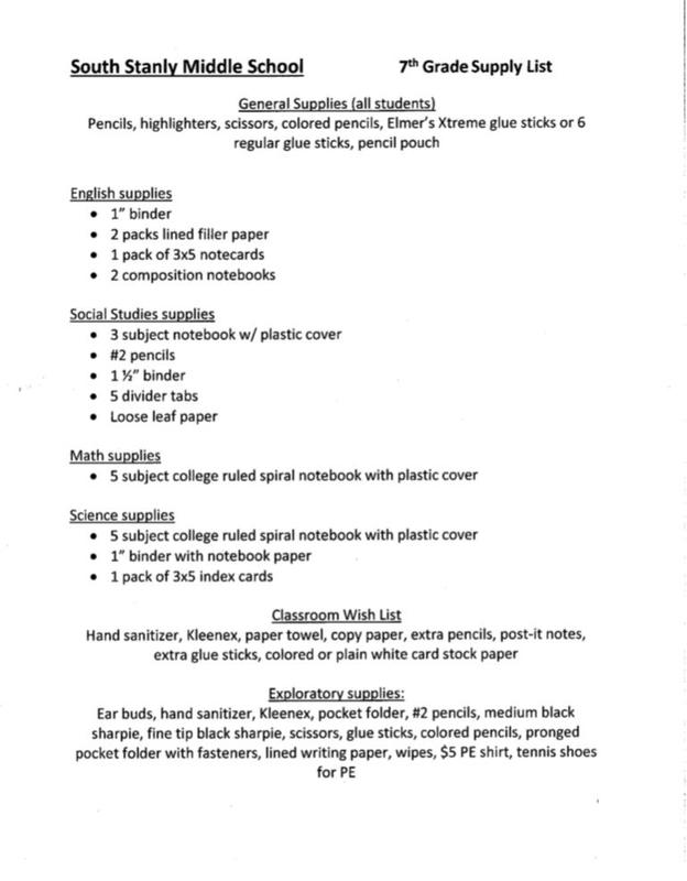 2020-2021 7th Grade Supply List Featured Photo