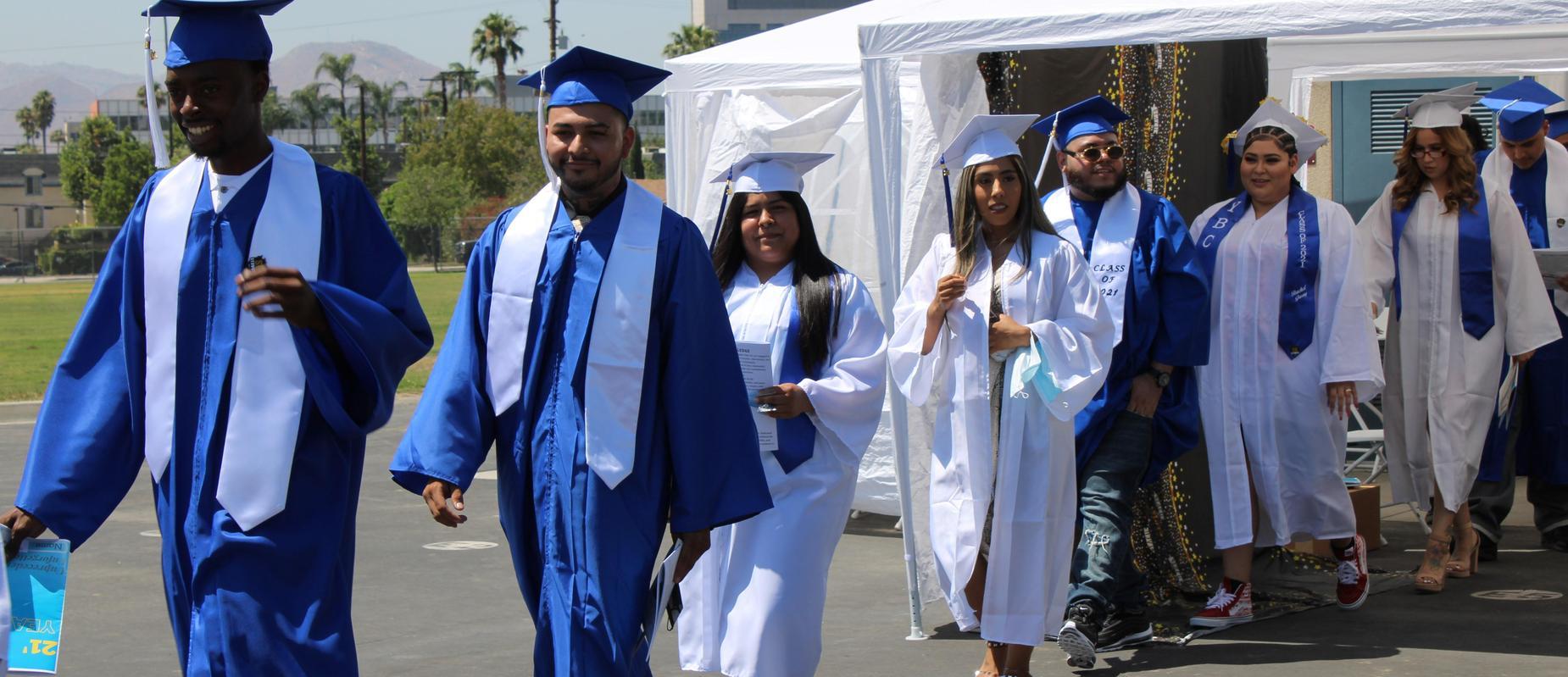 San Bernardino Class of 2021 grads walking