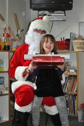 a girl and santa