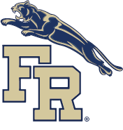 Franklin Regional School District block letter logo with leaping panther (registered trademark)