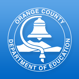 Orange County Department of Education logo including bell and mountains.