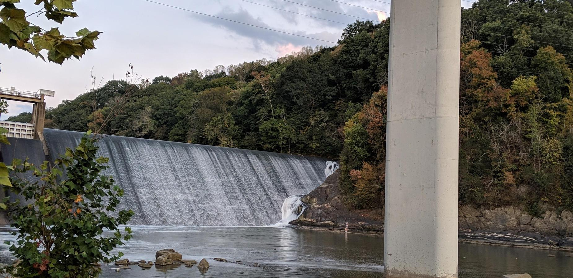 Photo of the dam that is located just off the Asheville Highway.
