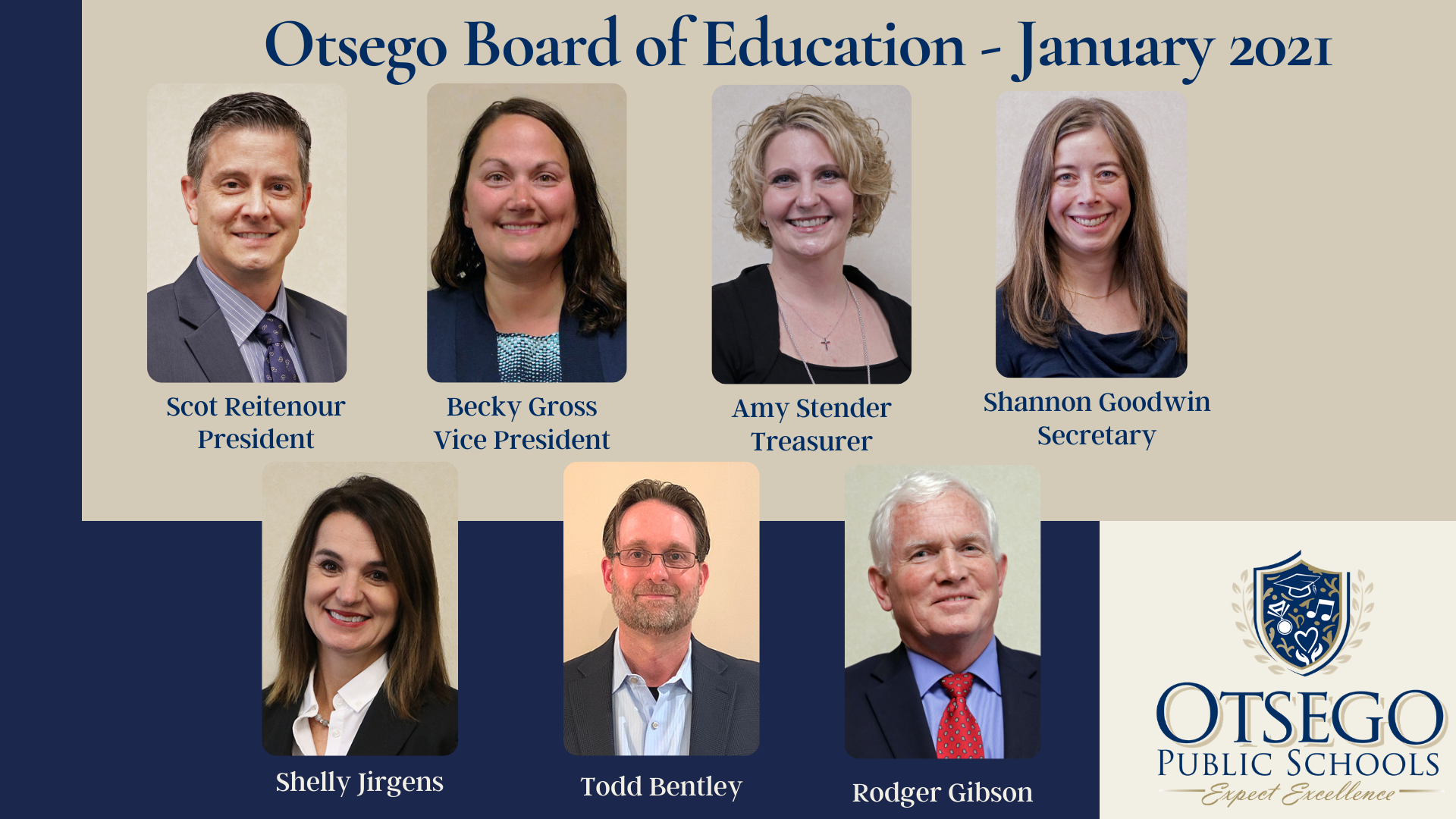 photo of board members and their titles as of Jan 2021
