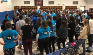 "Photo of: Hawthorne High School assistant principal and motivational speaker Craig Jandoli speaks at the annual Guy & Girl Thing at Westfield High School on March 22, taking took the group of approximately 160 WHS students on what he called ""an emotional rollercoaster."""