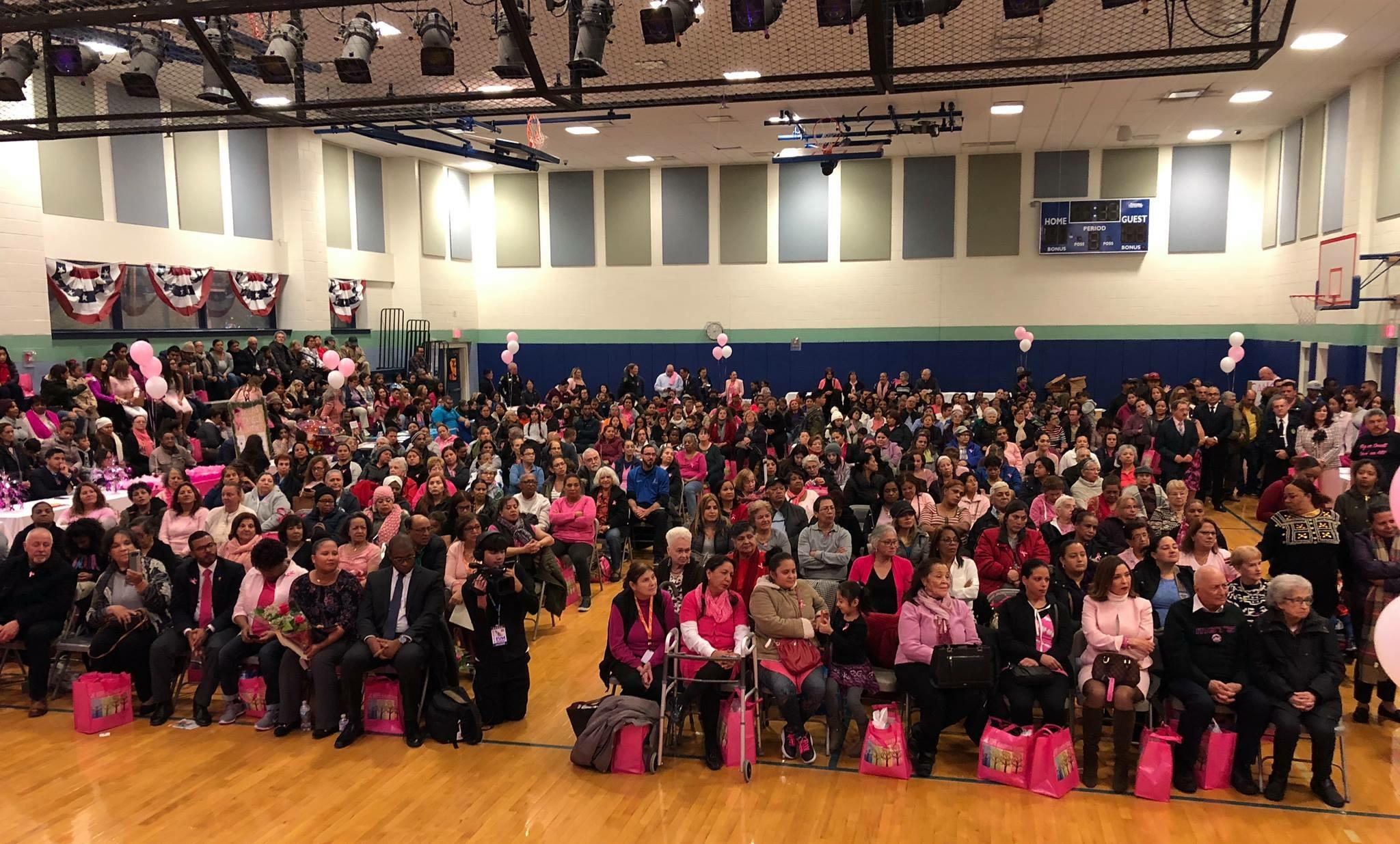 crowd of pink supporters