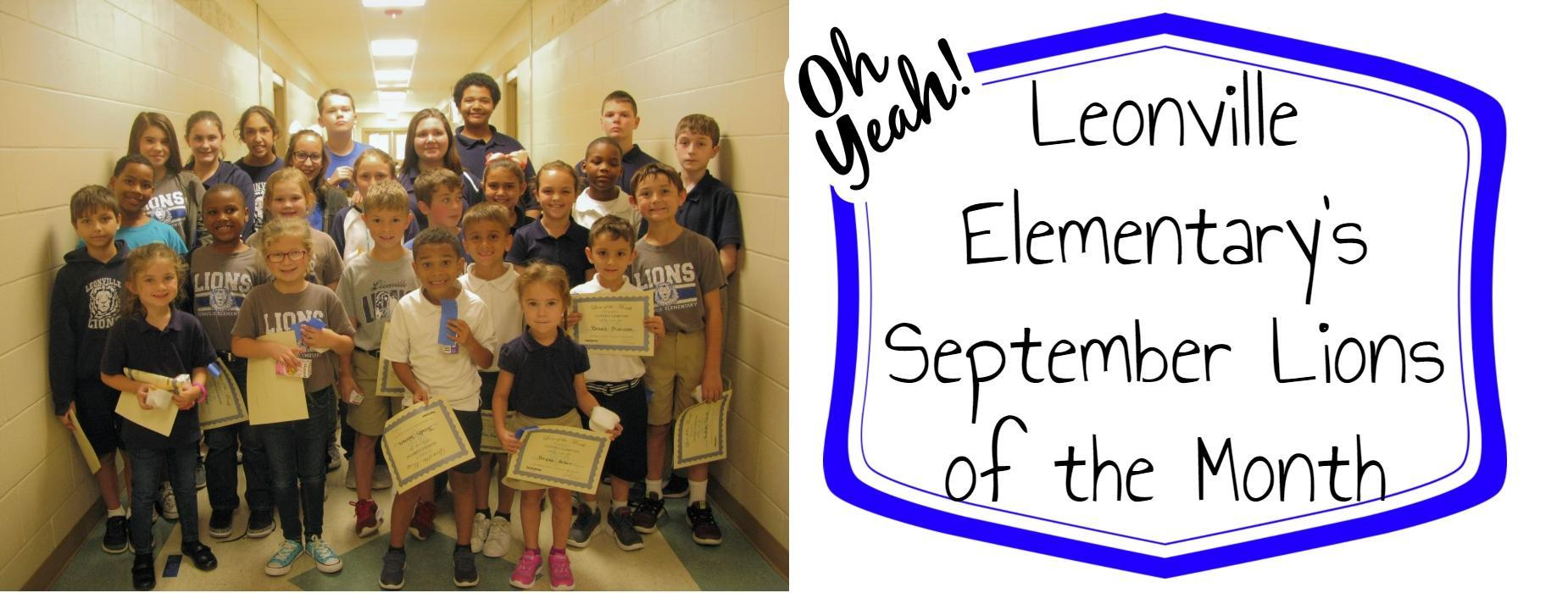 Leonville Elementary's September Lions of the Month