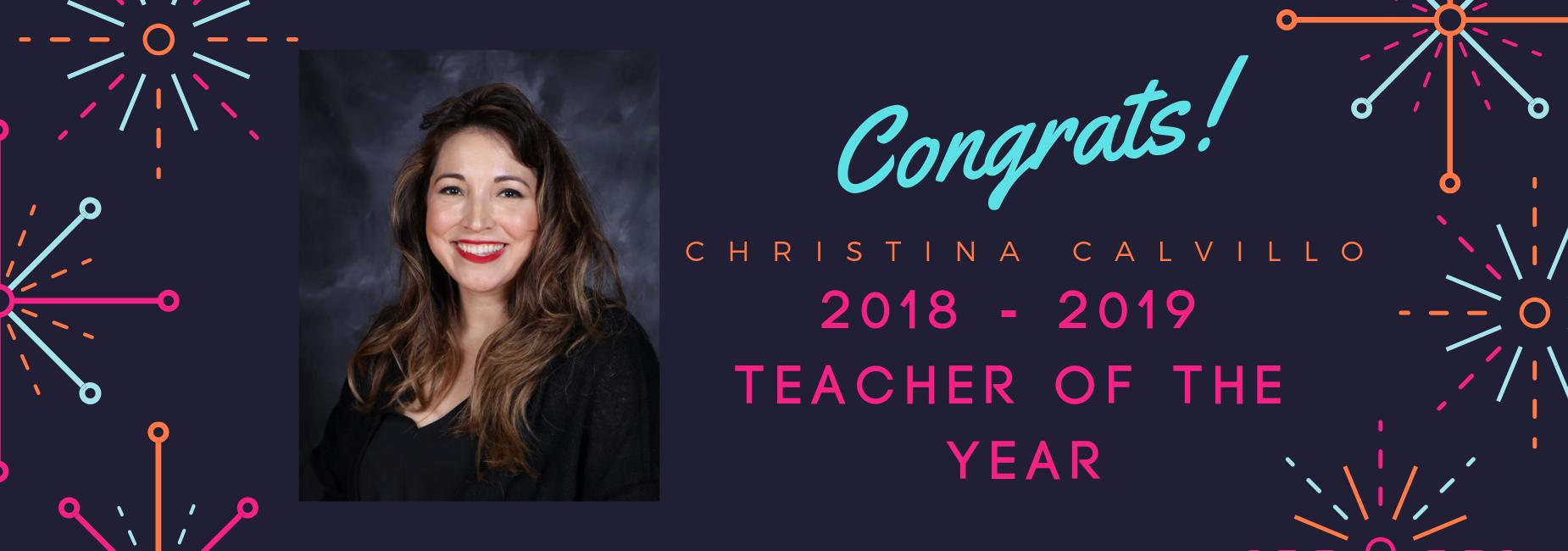 Christina Calvillo Teacher of the year