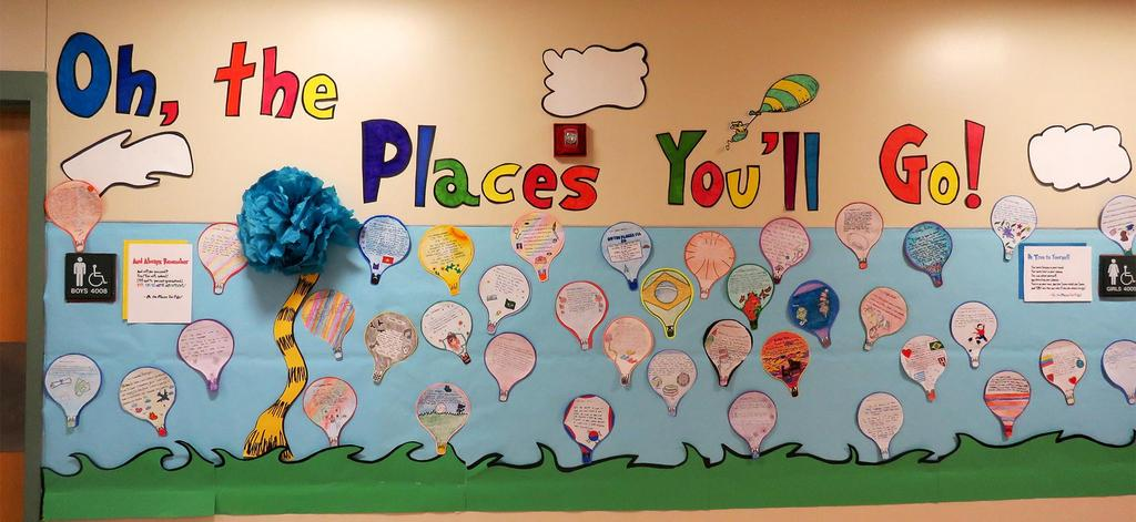 """Wall art featuring hot air balloons and the words """"Oh, the places you'll go!"""""""