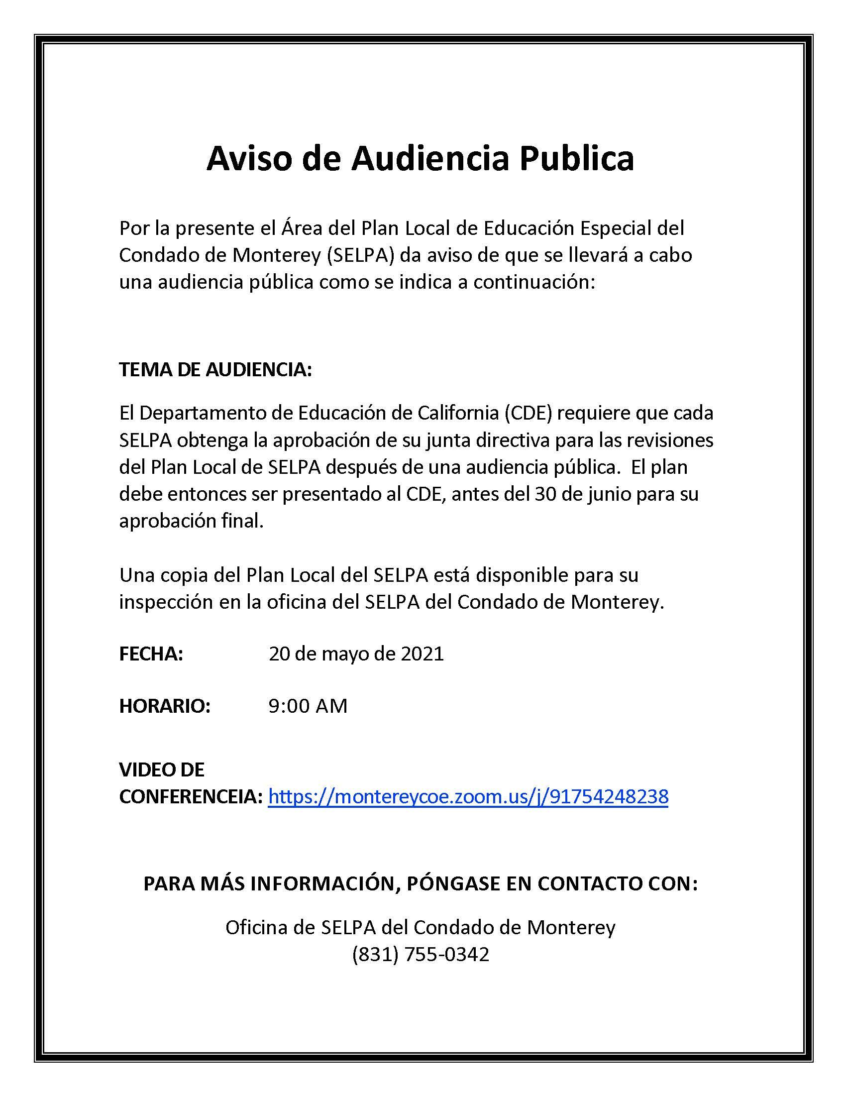 Spanish SELPA Public Hearing Flyer
