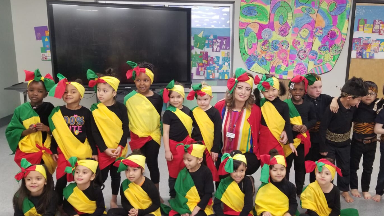 students dressed in outfits from Senegal