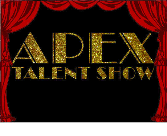 stage curtains drawn with APEX Talent SHow