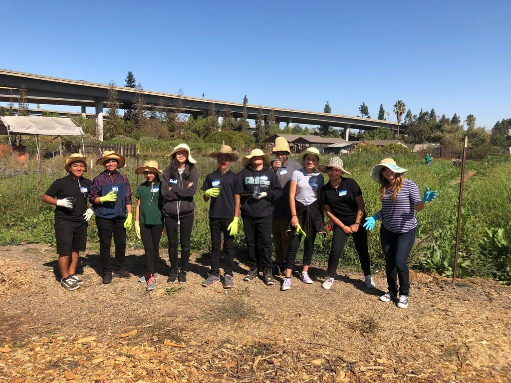 CCA students donning sun hats at Veggielution community garden.