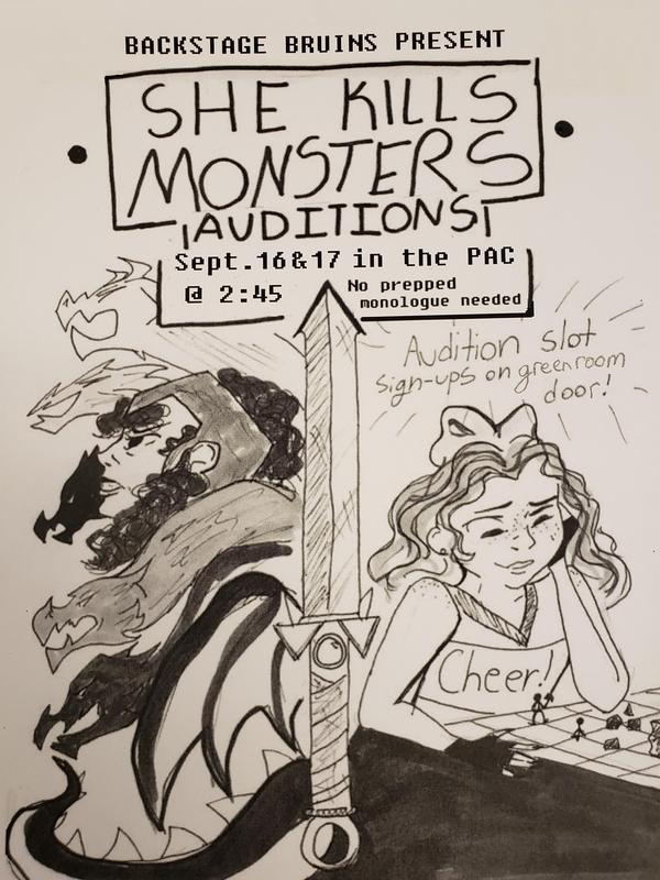 Poster of a girl playing a roleplaying game with a sword and monsters in the background.