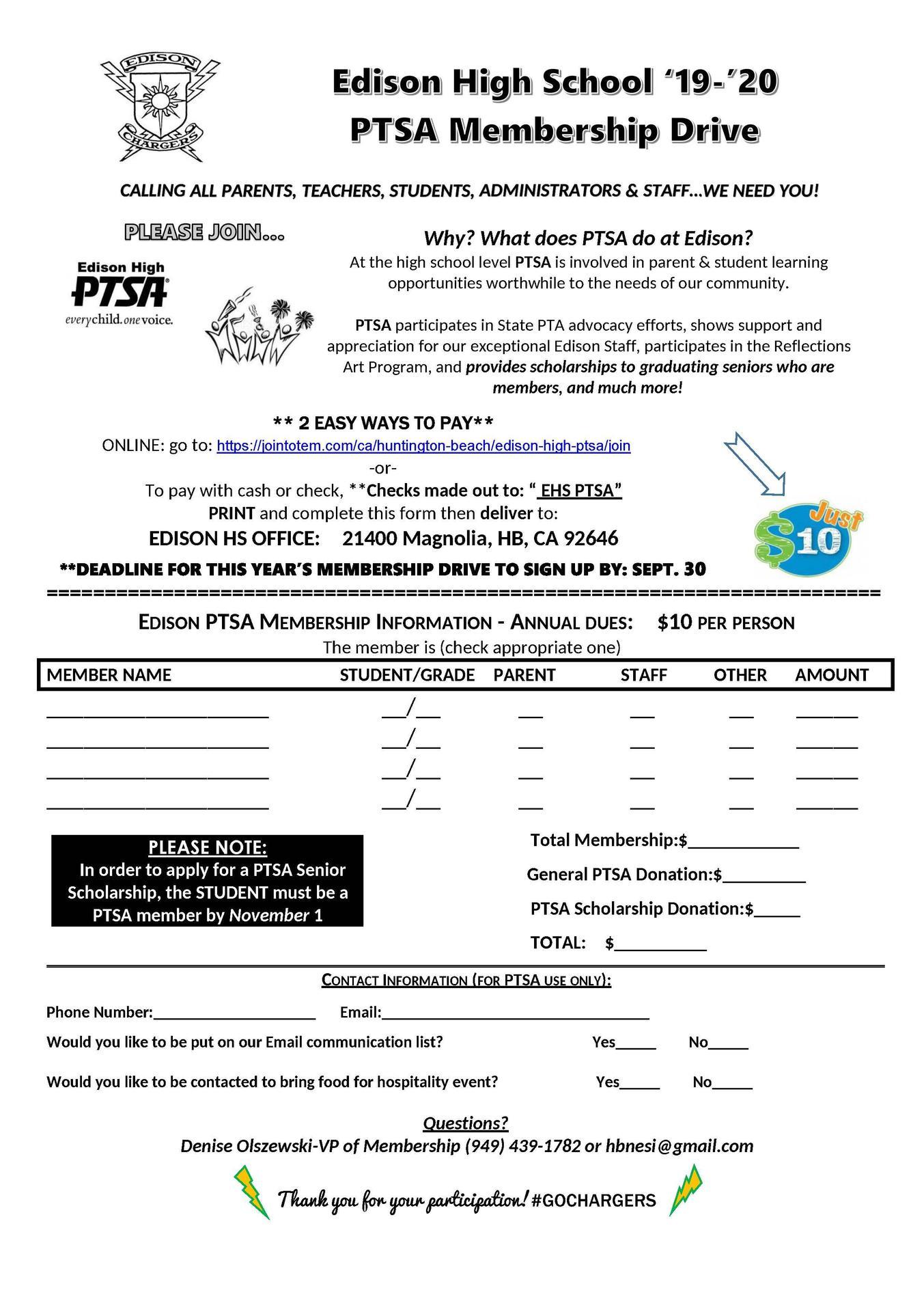 PTSA Membership Form 2019-2020