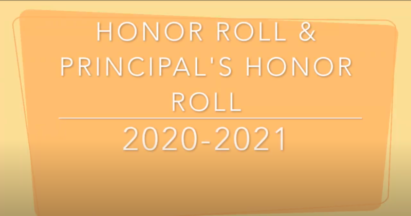 A banner that says Honor Roll and Principal's Honor Roll.