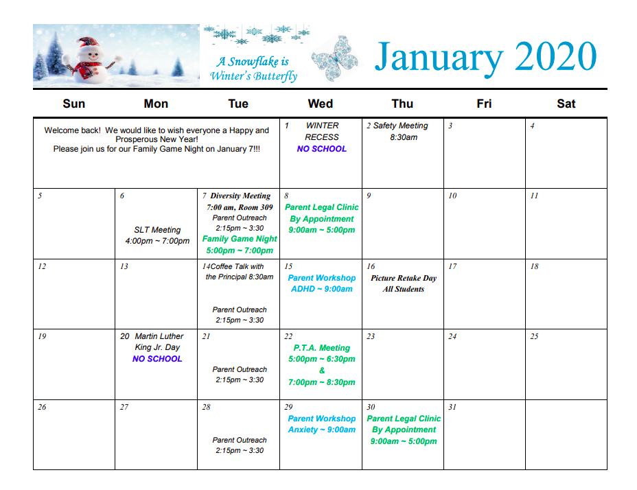 PTA Calendar for January