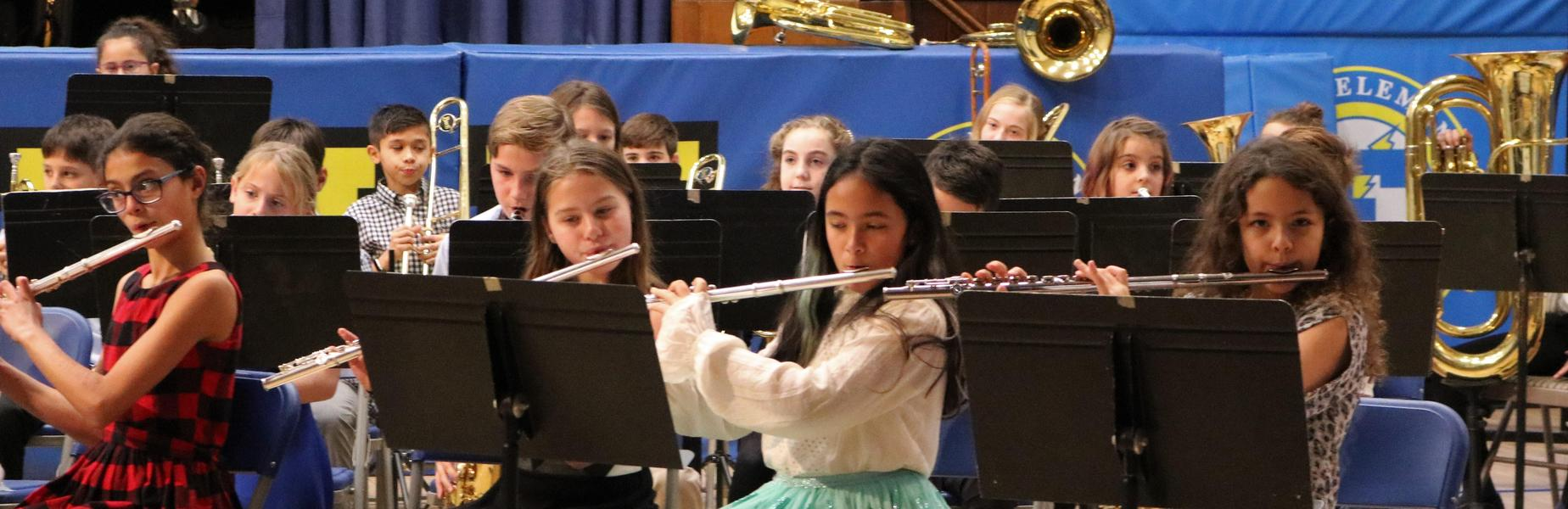 Photo of Franklin 5th grade flute players during winter band concert.