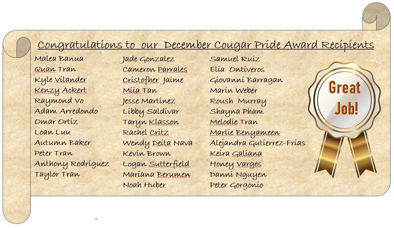 December Cougar Pride Awards