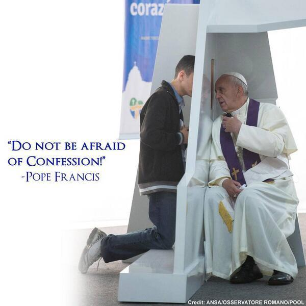 Pope Francis hearing Confession