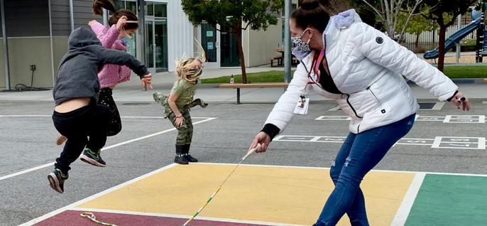 teacher jumping rope