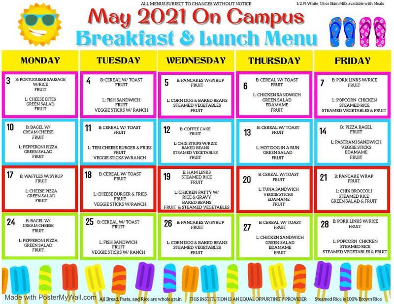 May On Campus Menu