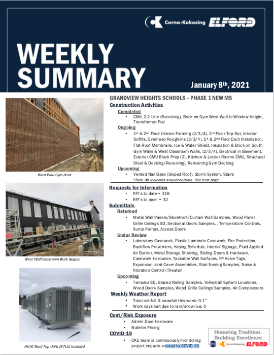 Construction Updates - January 8, 2021 Thumbnail Image