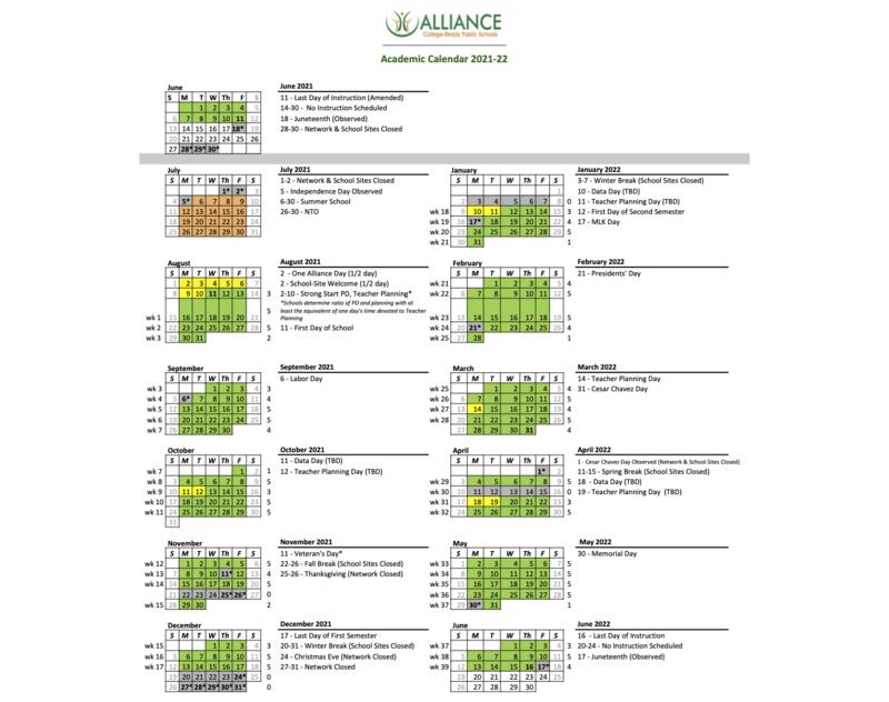 2021-22 Alliance Academic Calendar Thumbnail Image