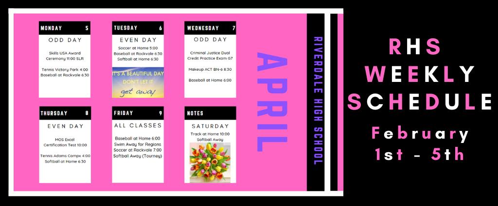 Weekly Schedule 4-5-21